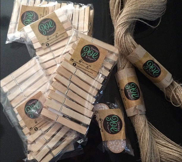 Rolls of rope and wooden clothing pins from Instagram seller @zoepaperiedesigns