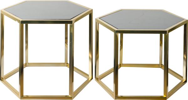 hexagonal brass tables with marble top