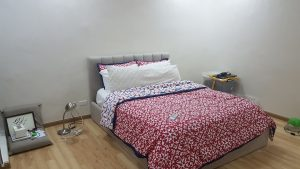Photo of upholstered bed in an undecorated room
