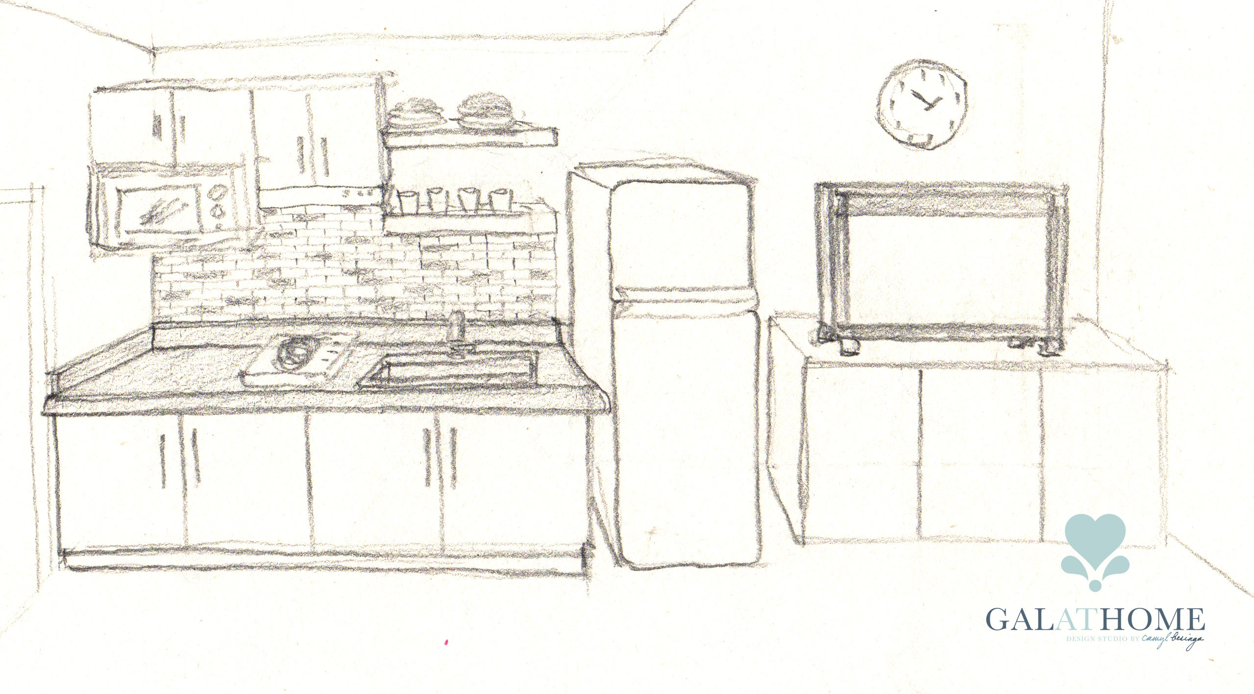 8-studio type condo interior design Room Sketch