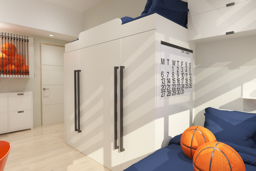 rendering of boys' loft bed and wardrobes