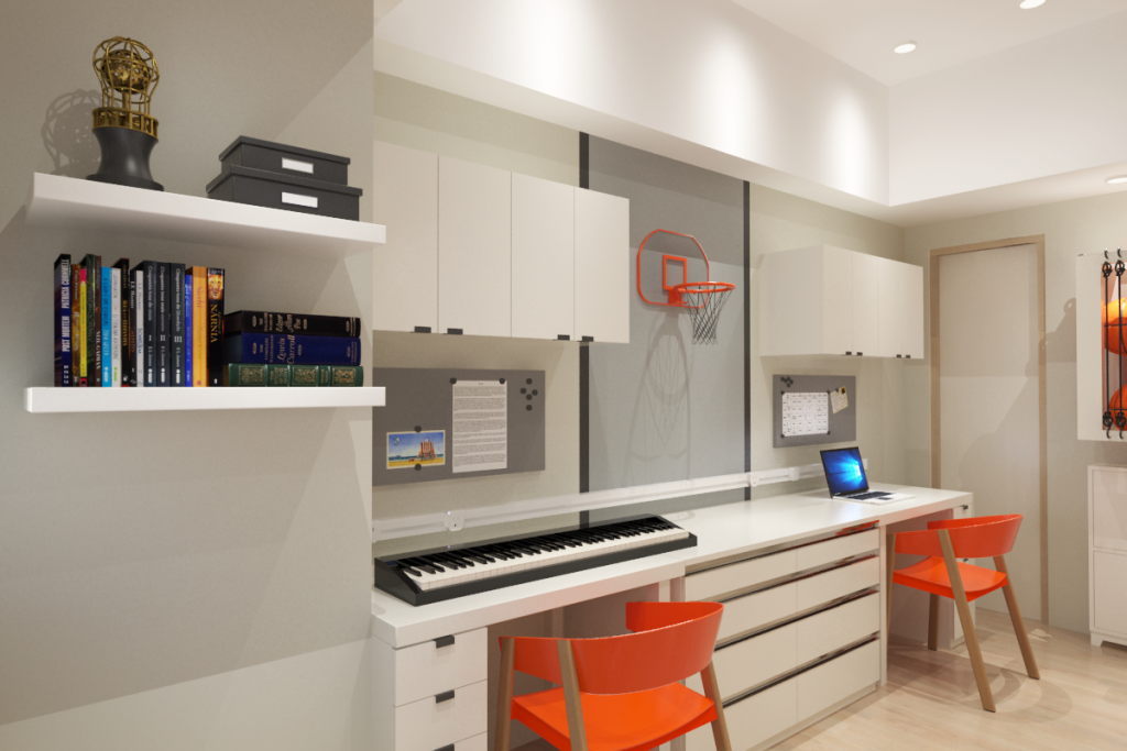 rendering of study area in boys' room