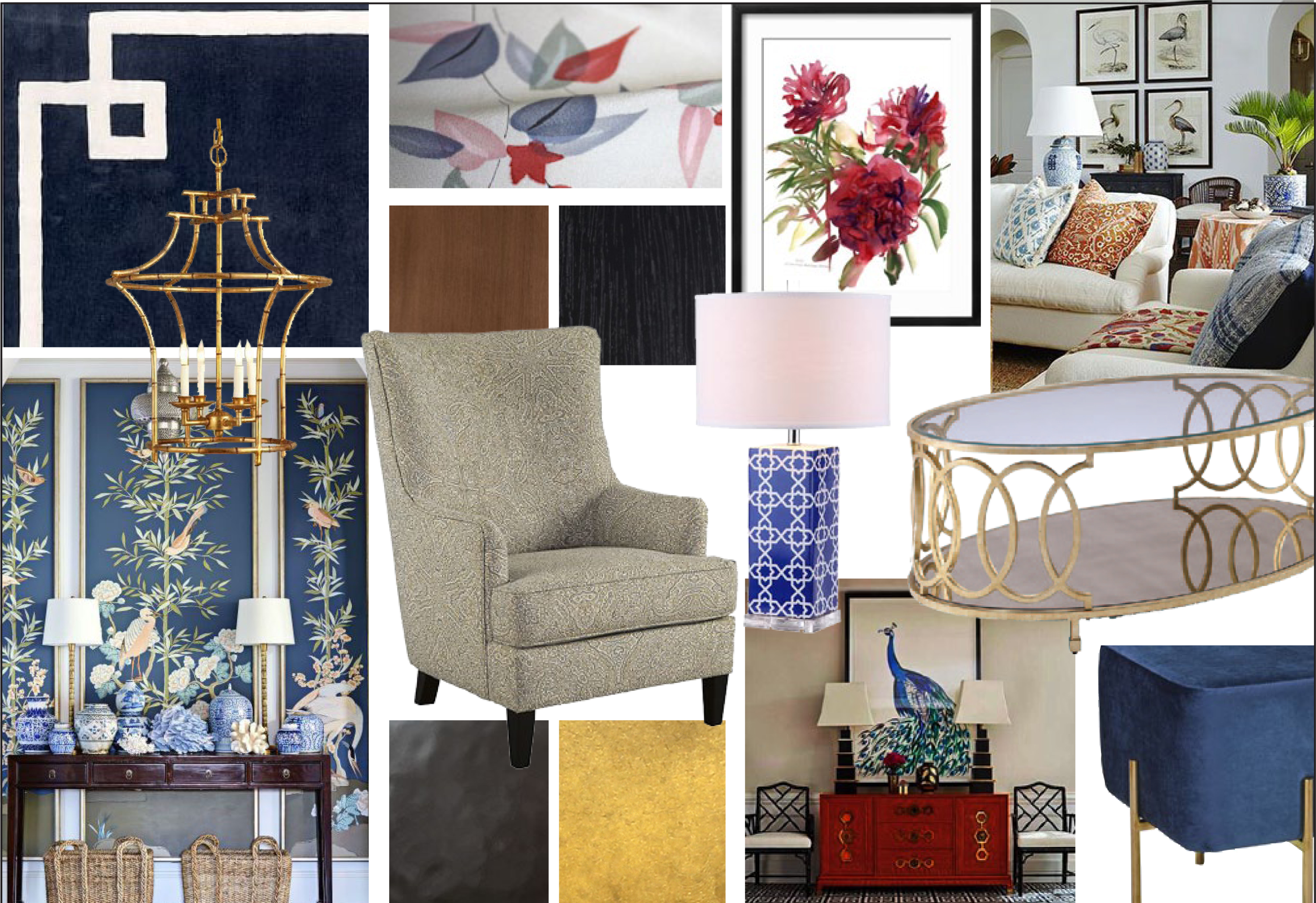 Oriental inspired mood board with sophisticated elements