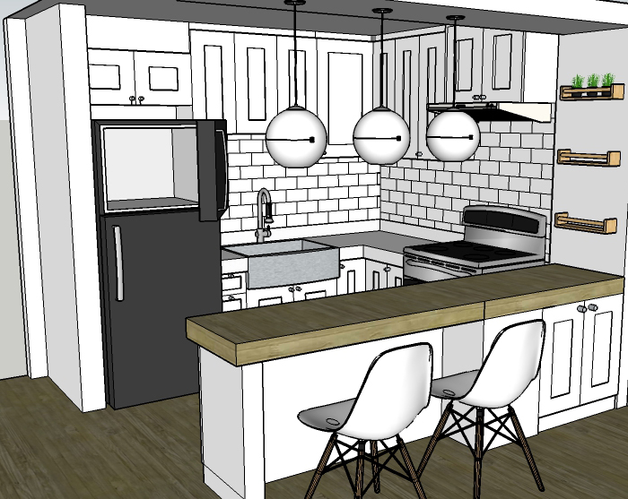 Sketchup model of kitchen with dining bar counter