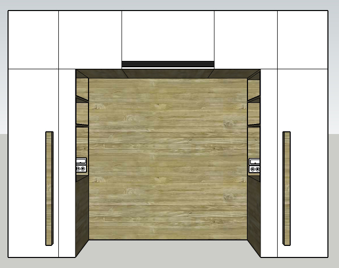 Rendering of a headboard and closet system