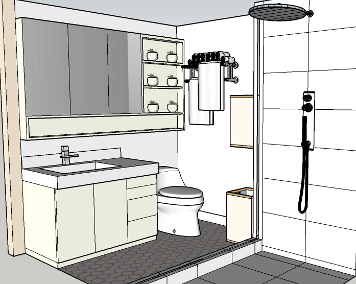 Rendering of a white Scandi inspired bathroom