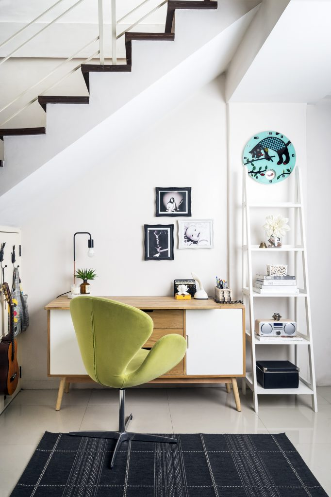 office nook with green swan chair