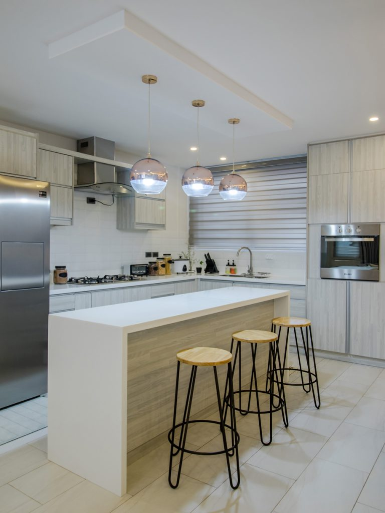 contemporary kitchen interiors with drop lamps