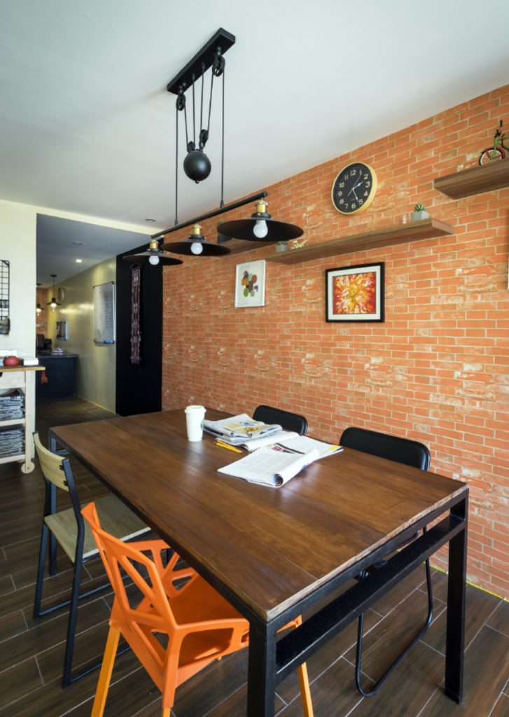 home office with wallpaper brick wall