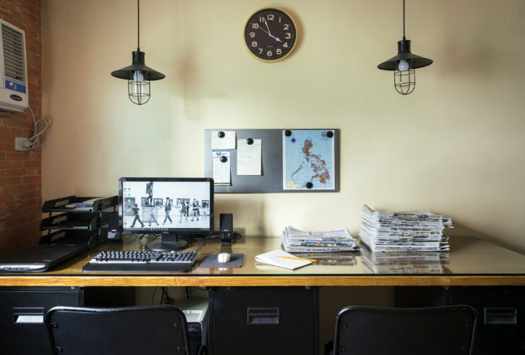 home office with cage lamps