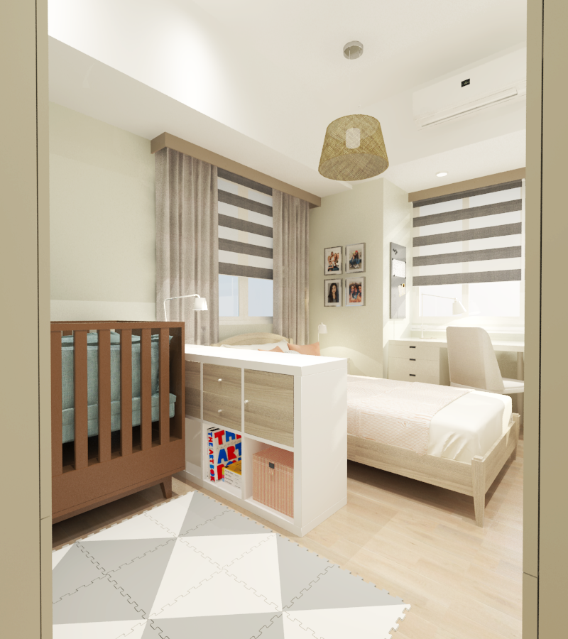 combined nursery and teen room interiors