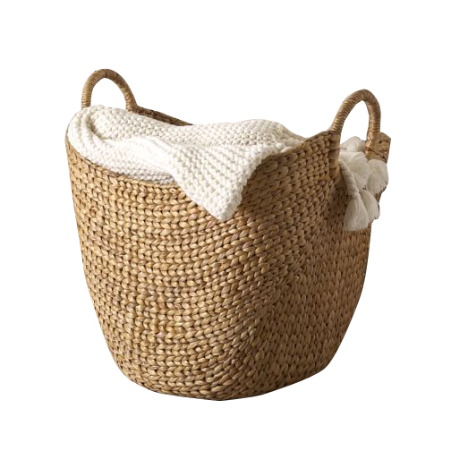 Dropped out image of a large curved basket
