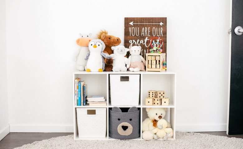 cubby shelves in kids nursery