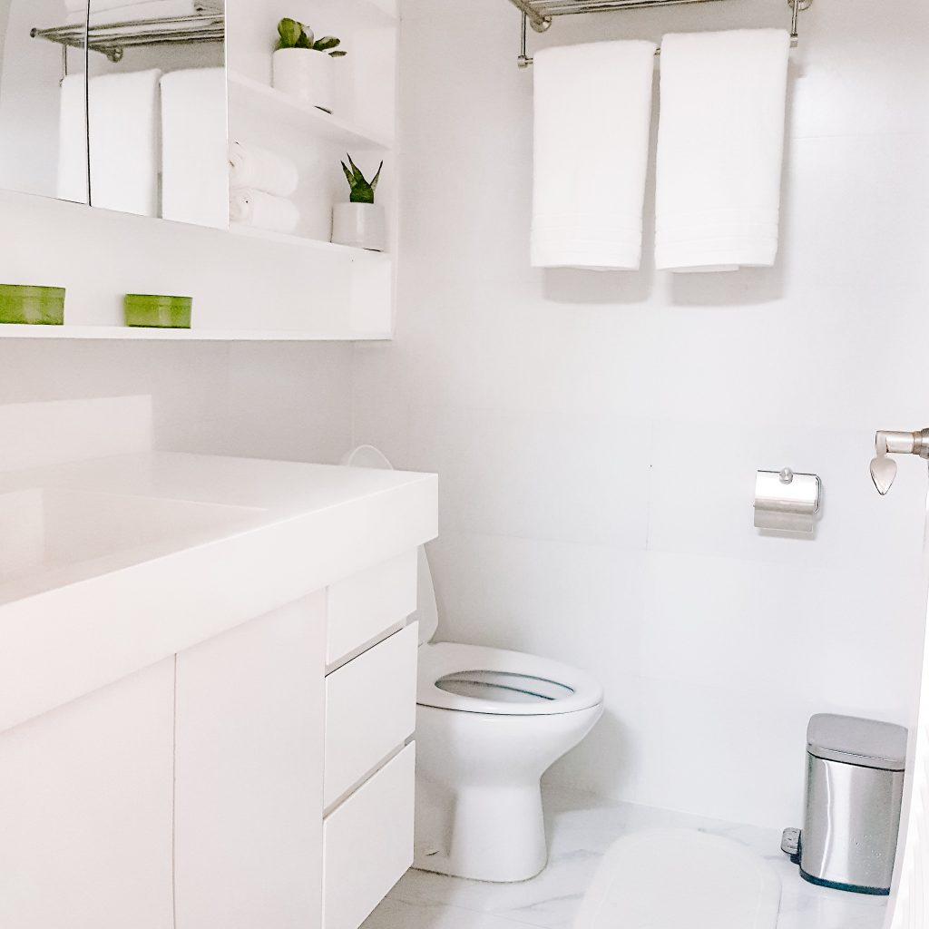 clean white bathroom with plants