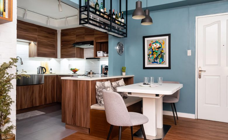 condo dining area with banquette and ceiling-mounted bar shelves