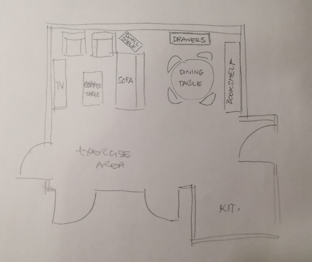 rough sketch of rental condo furniture layout