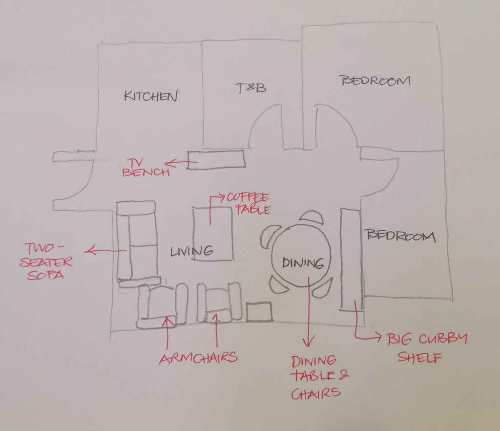 rough sketch of layout of rental apartment