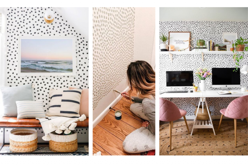 design pegs of speckled walls