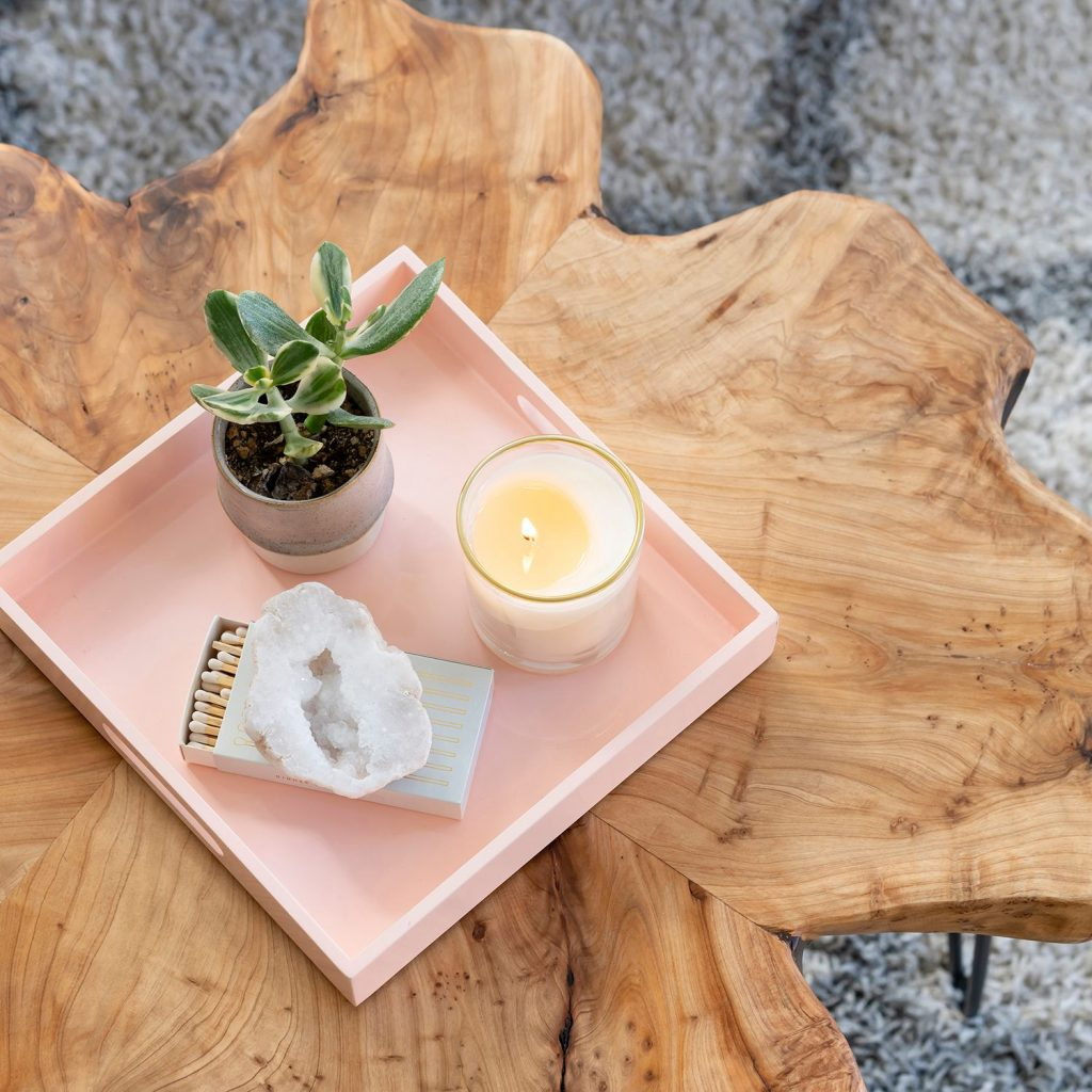 tray with candle, matchbox, potted plant