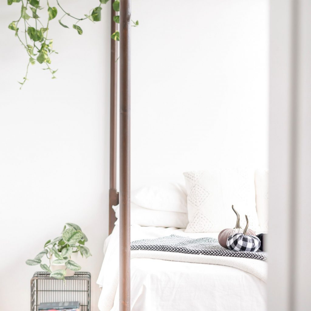 White bed with decor