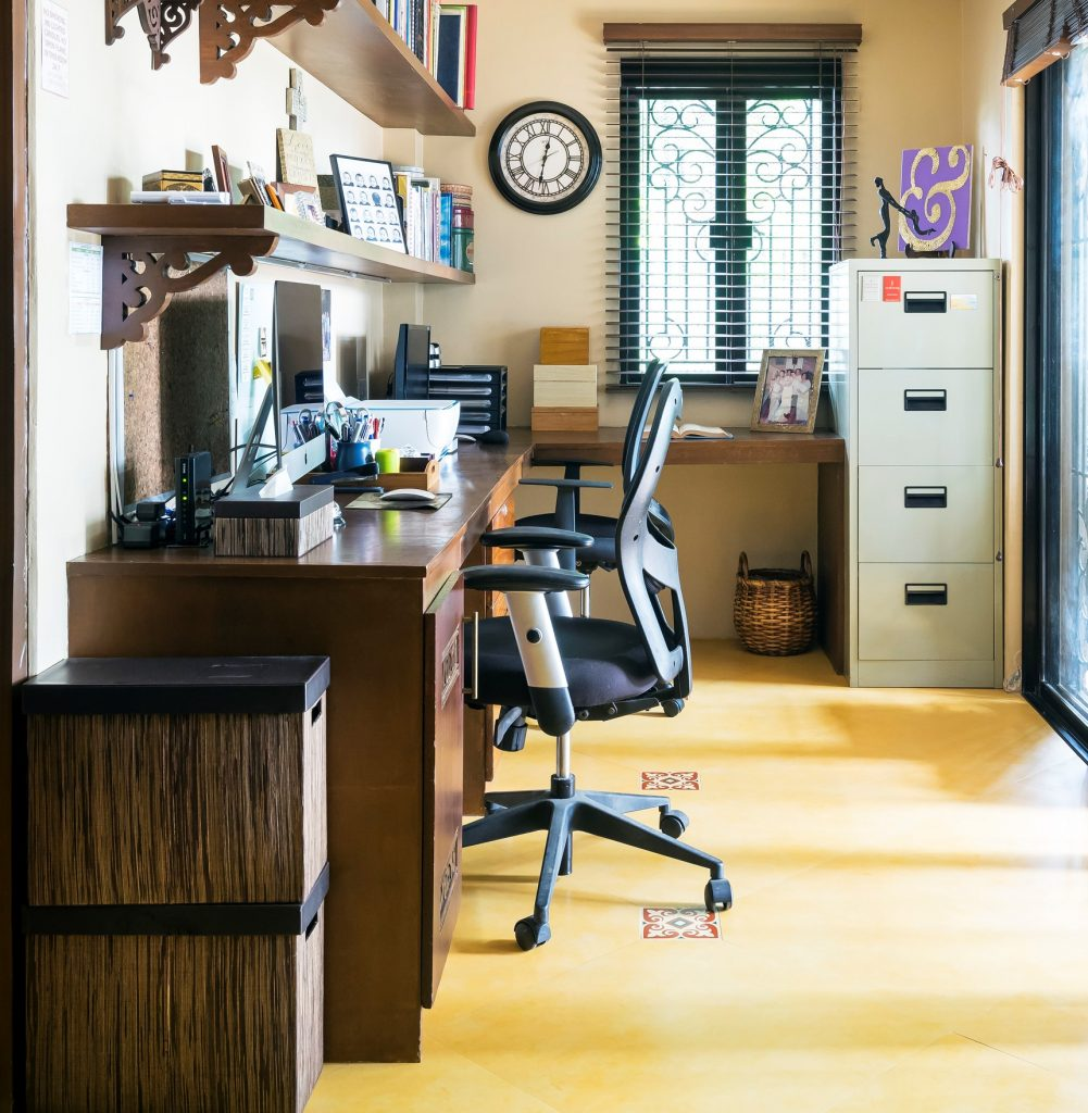 Neat and neutral brown office