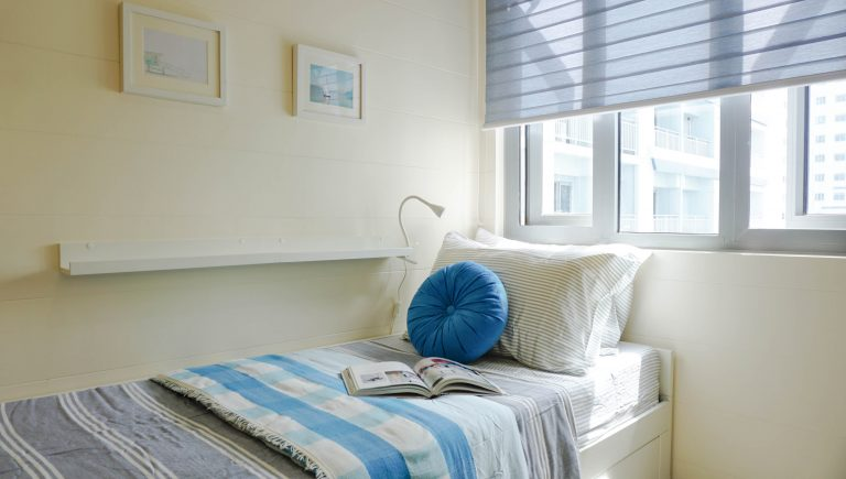 single bed with blue linen home color ideas