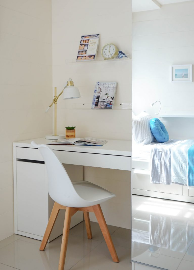 desk chair and mirrored wardrobe in home color ideas