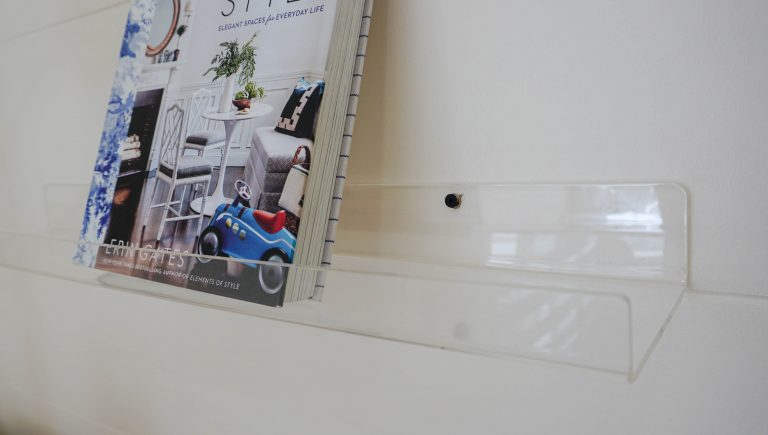 clear picture ledge with blue book home color ideas